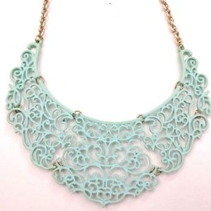 Matte Turquoise Lace Necklace